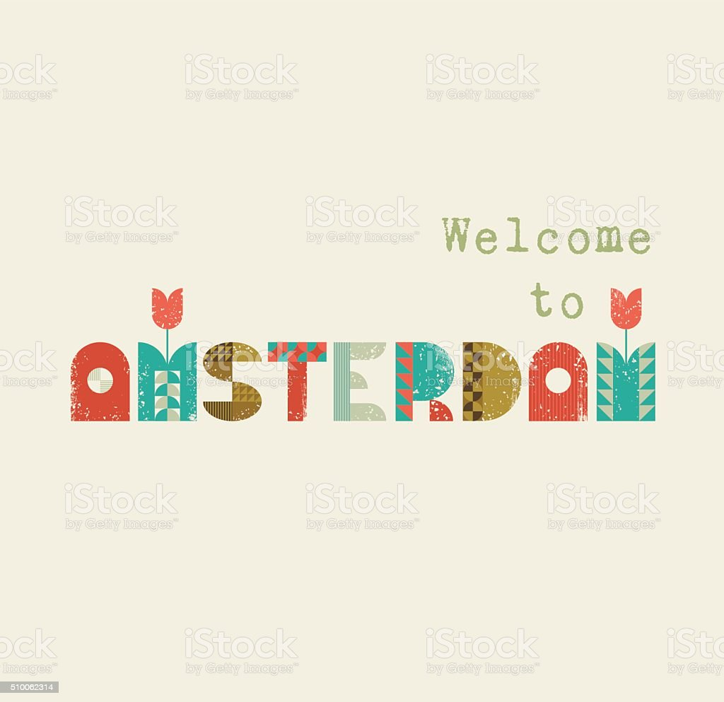Welcome to Amsterdam retro lettering vector art illustration