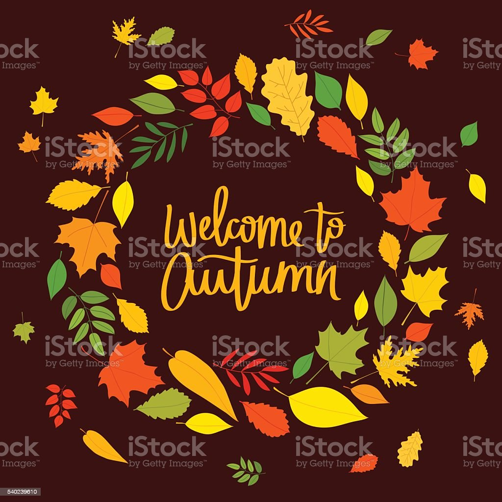 Welcome to autumn. The trend calligraphy vector art illustration