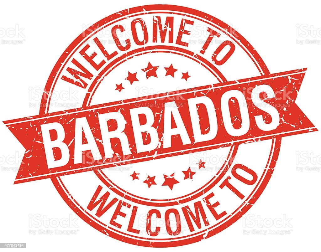 welcome to Barbados red round ribbon stamp vector art illustration