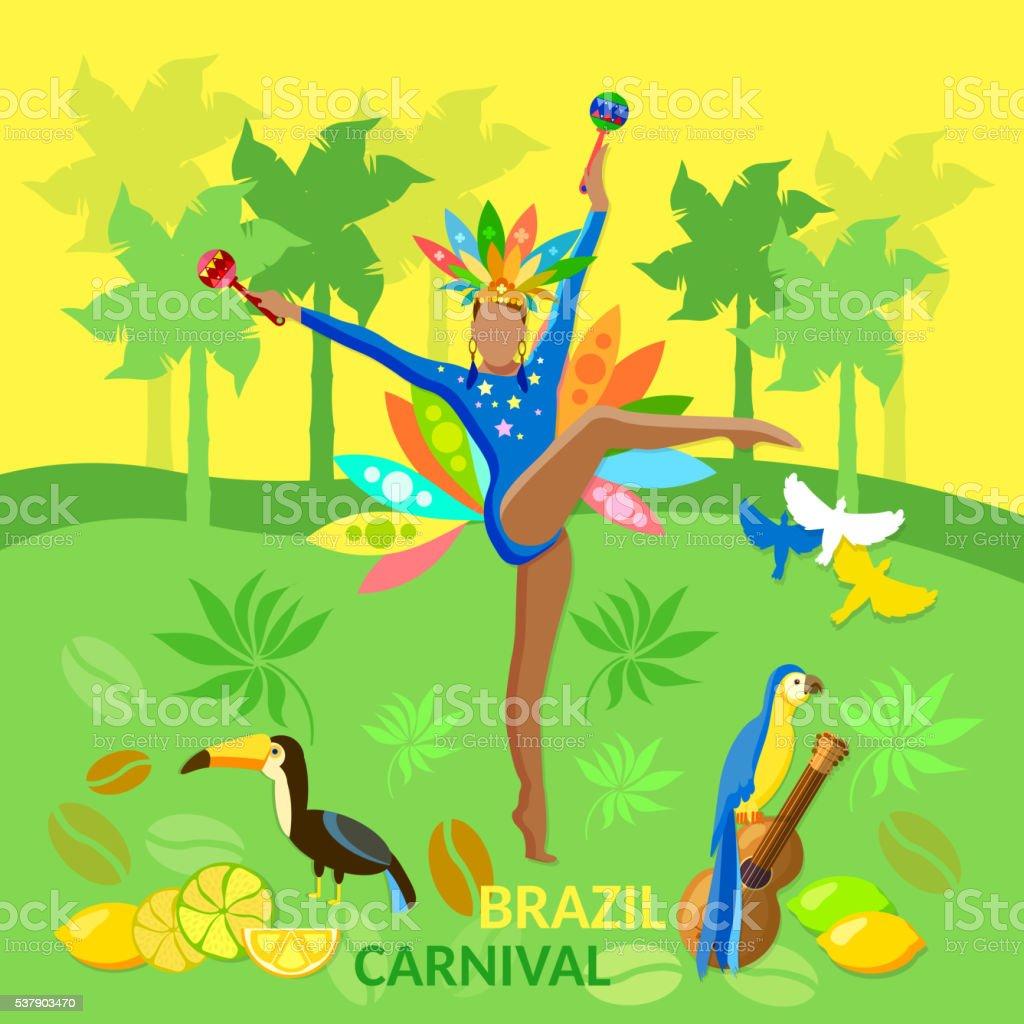 Welcome to Brazil brazilian carnival jungle vector art illustration