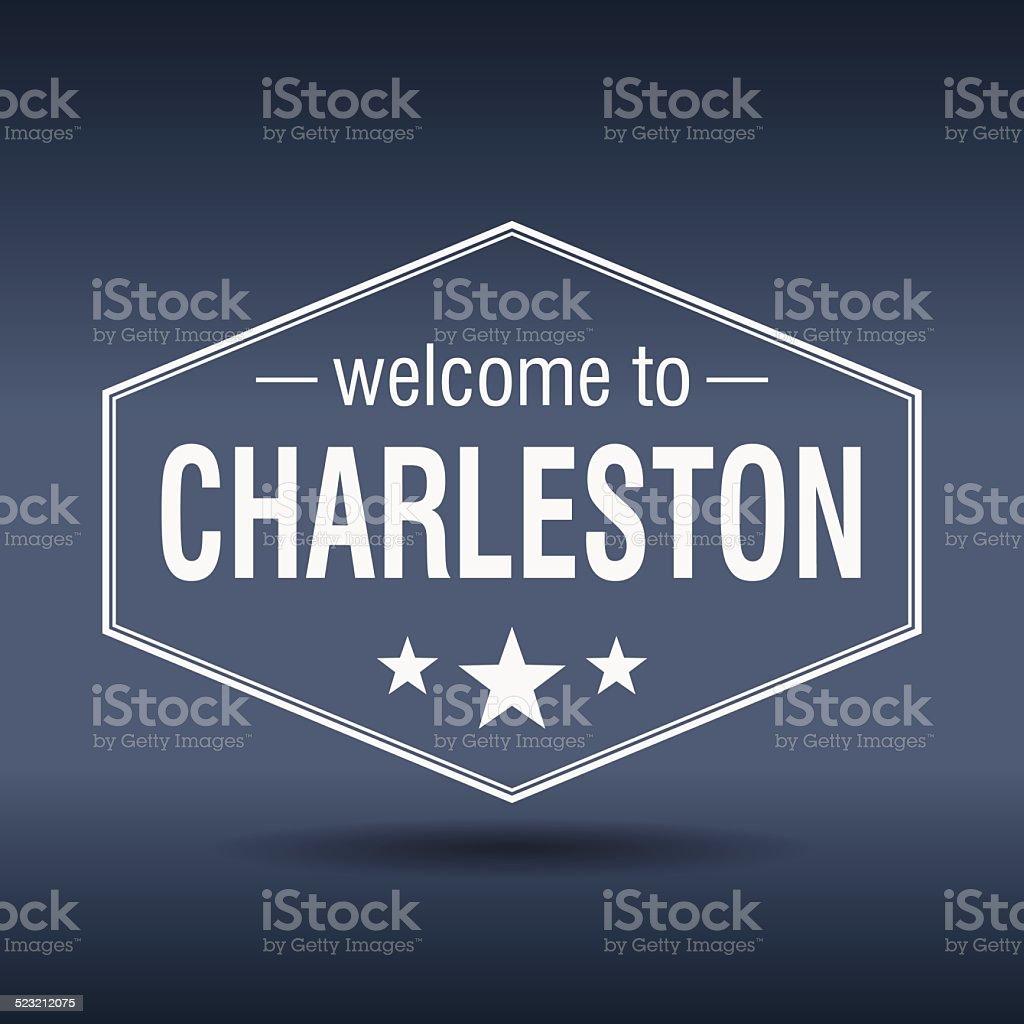 welcome to Charleston hexagonal white vintage label vector art illustration