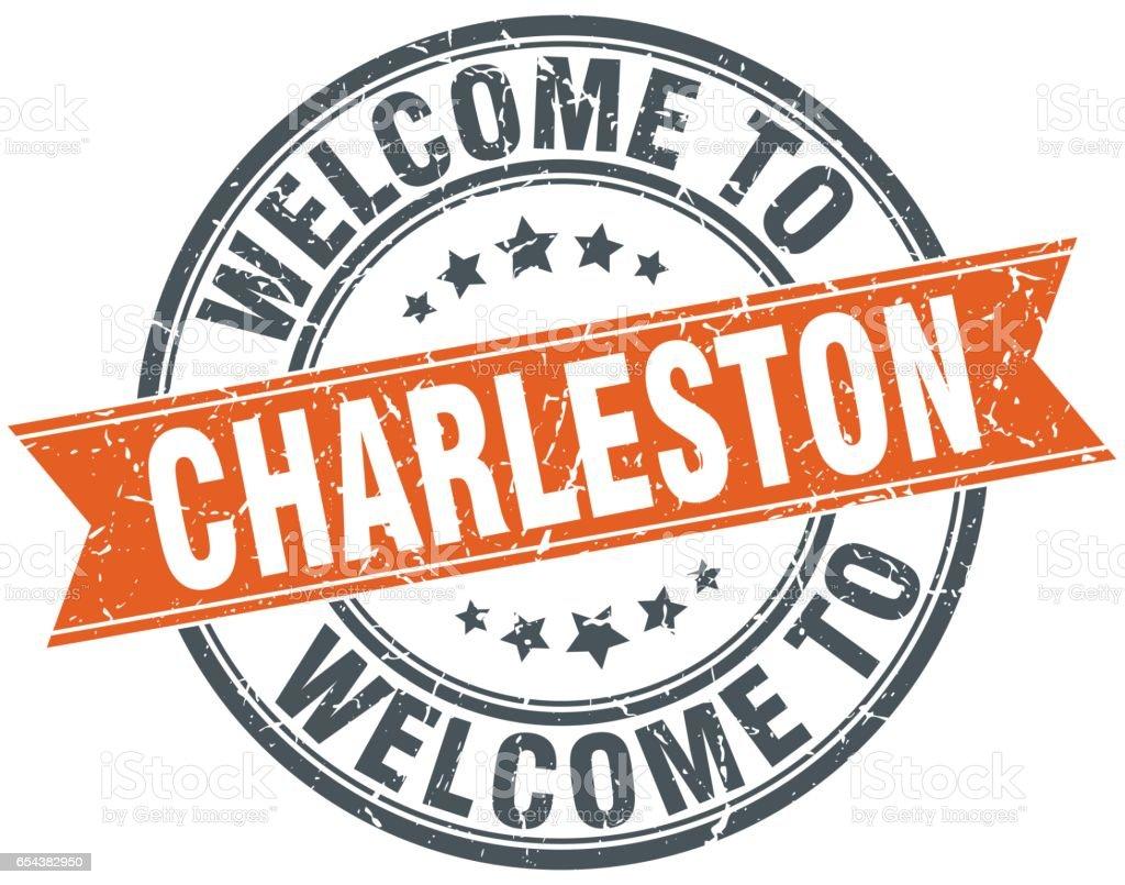 welcome to Charleston orange round ribbon stamp vector art illustration