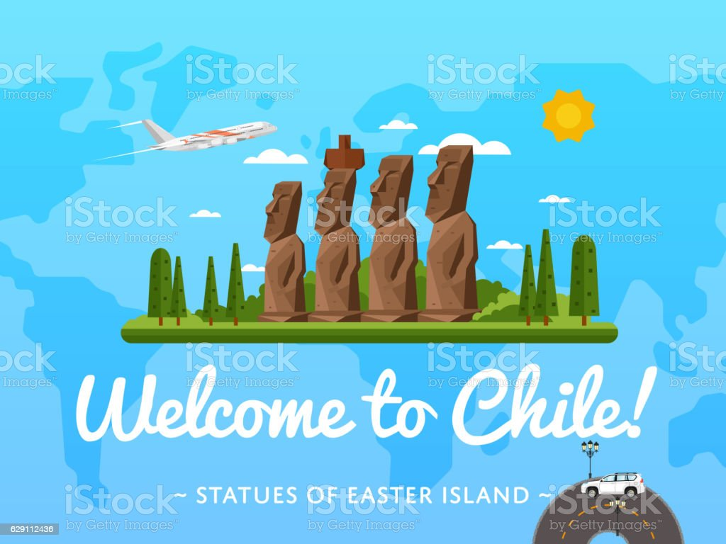 Welcome to Chile poster with famous attraction vector art illustration