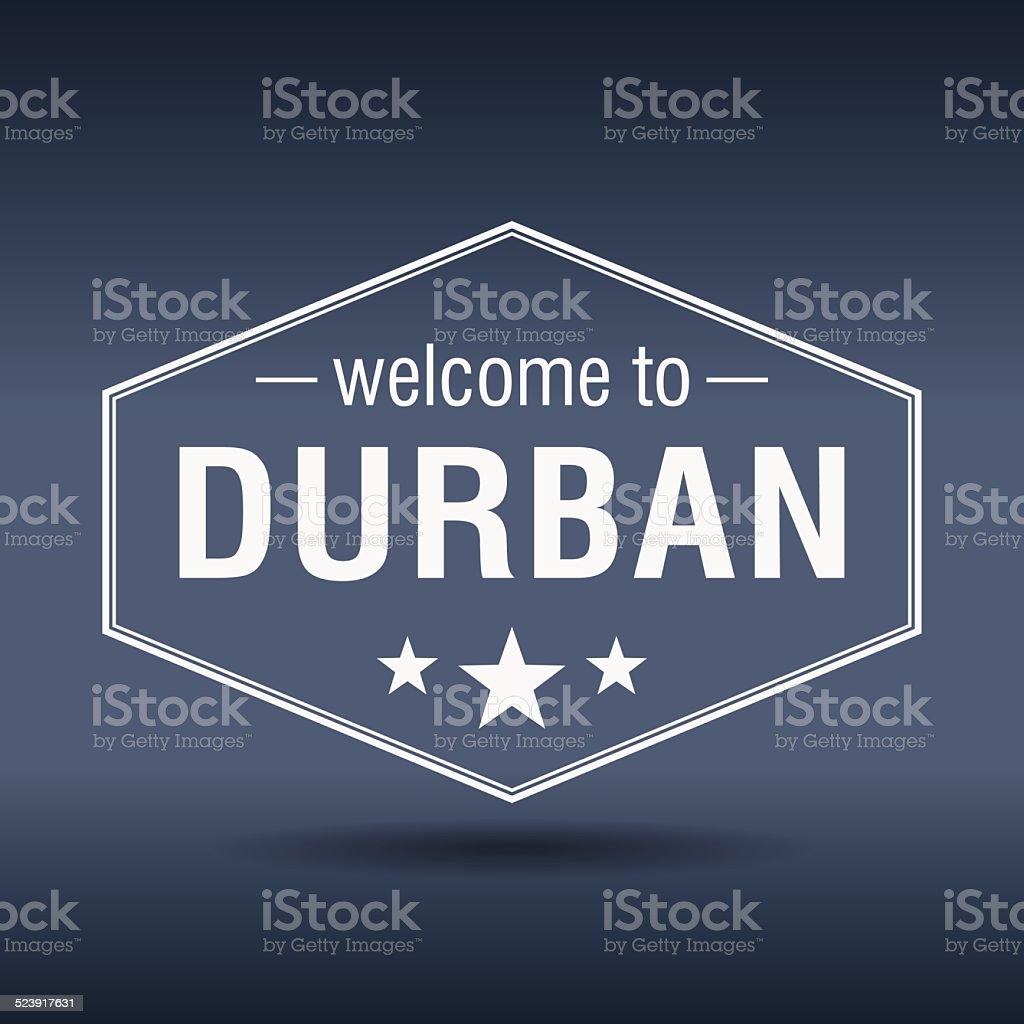 welcome to Durban hexagonal white vintage label vector art illustration