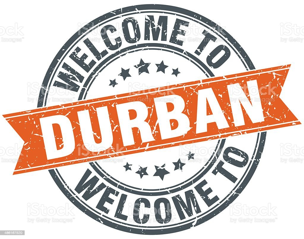 welcome to Durban orange round ribbon stamp vector art illustration