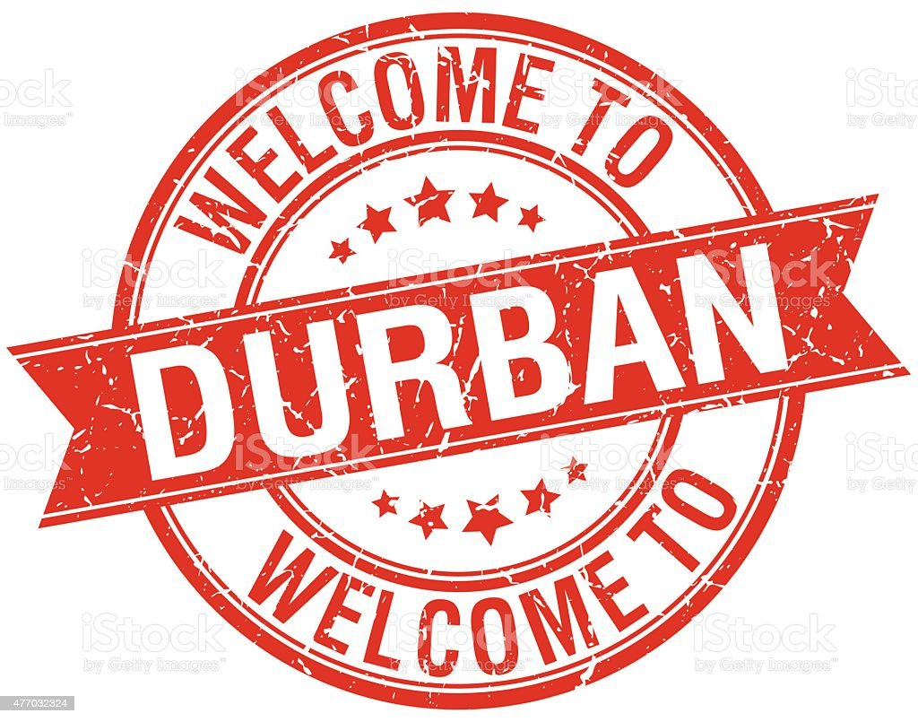 welcome to Durban red round ribbon stamp vector art illustration