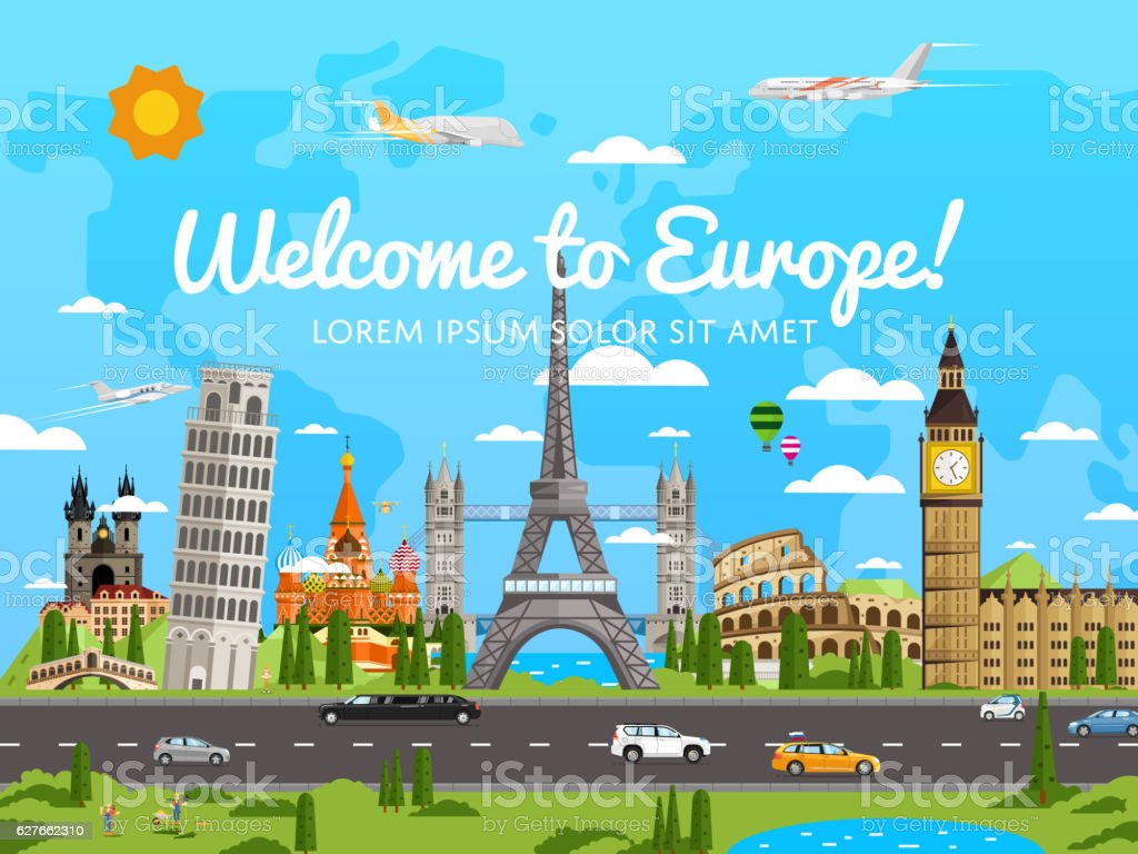 Welcome to Europe poster with famous attractions vector art illustration