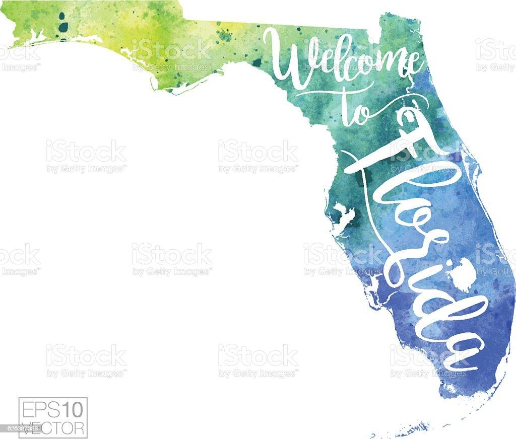 Welcome To Florida Vector Watercolor Map Stock Vector Art - Florida map vector free