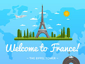 Welcome to France poster with famous attraction