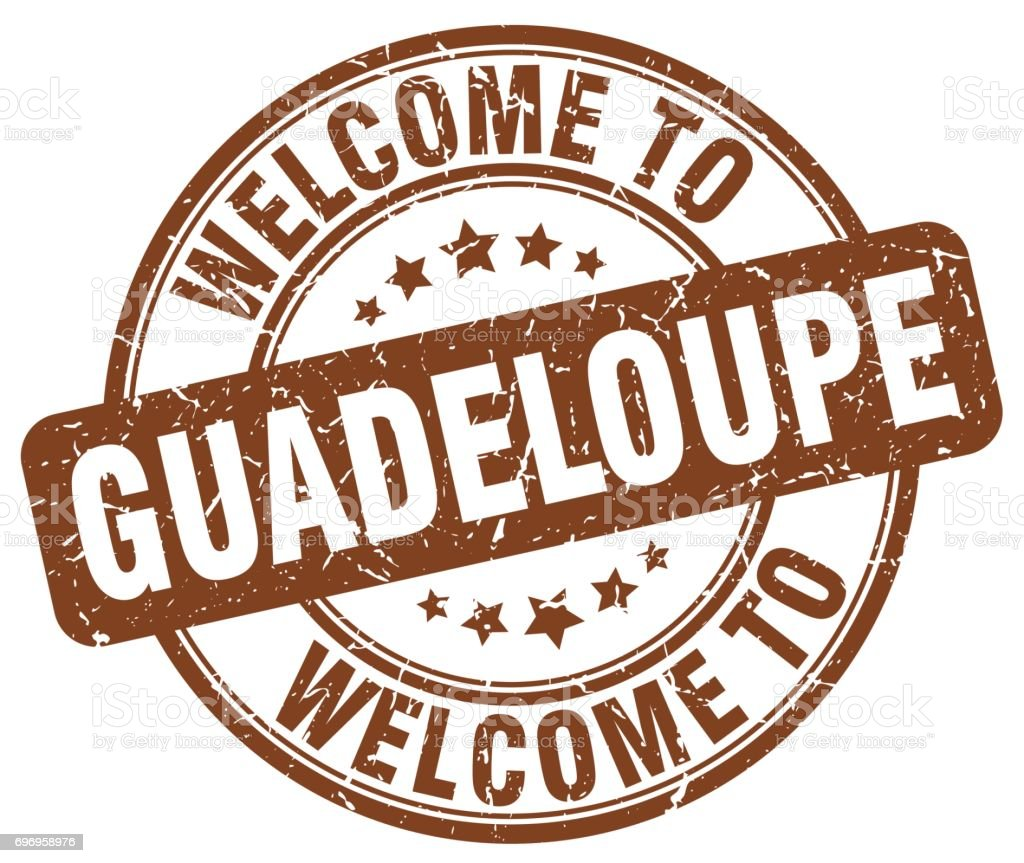 welcome to Guadeloupe brown round vintage stamp vector art illustration