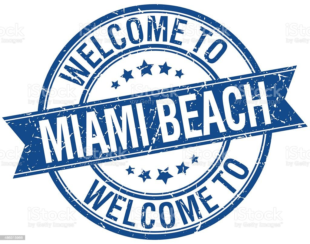 welcome to Miami Beach blue round ribbon stamp vector art illustration
