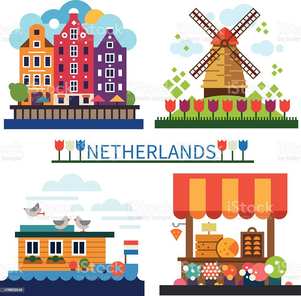 Welcome to Netherlands vector art illustration