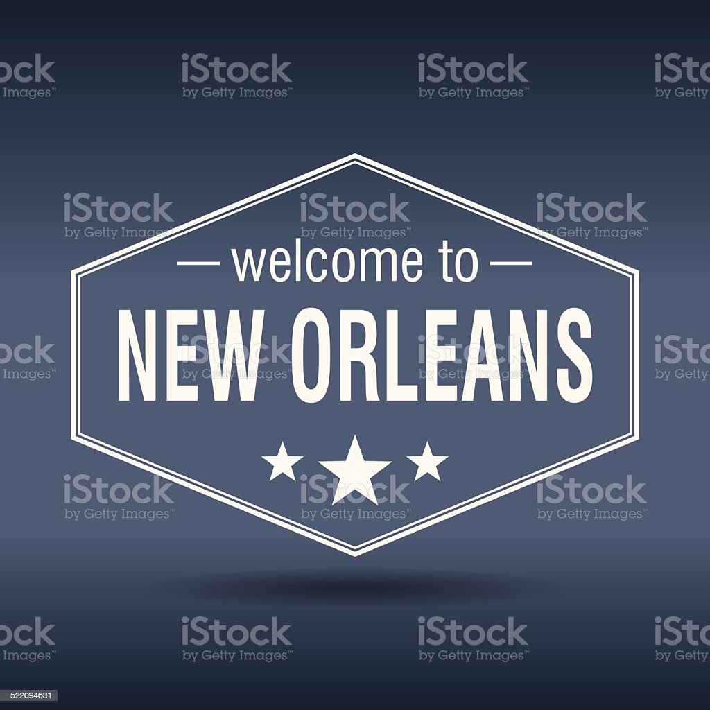 welcome to New Orleans hexagonal white vintage label vector art illustration
