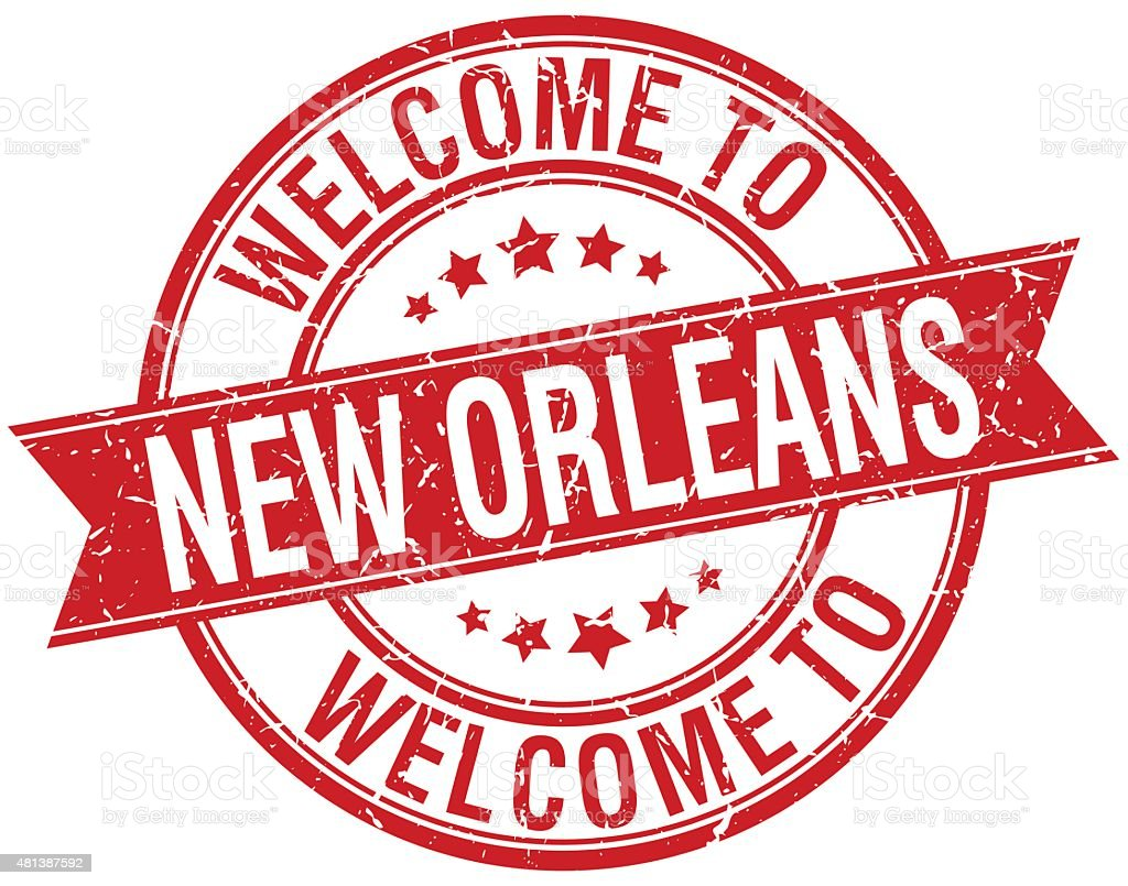 welcome to New Orleans red round ribbon stamp vector art illustration