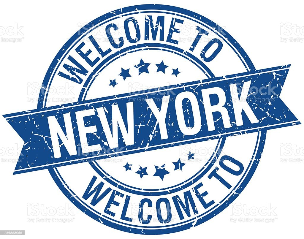 welcome to New York blue round ribbon stamp vector art illustration