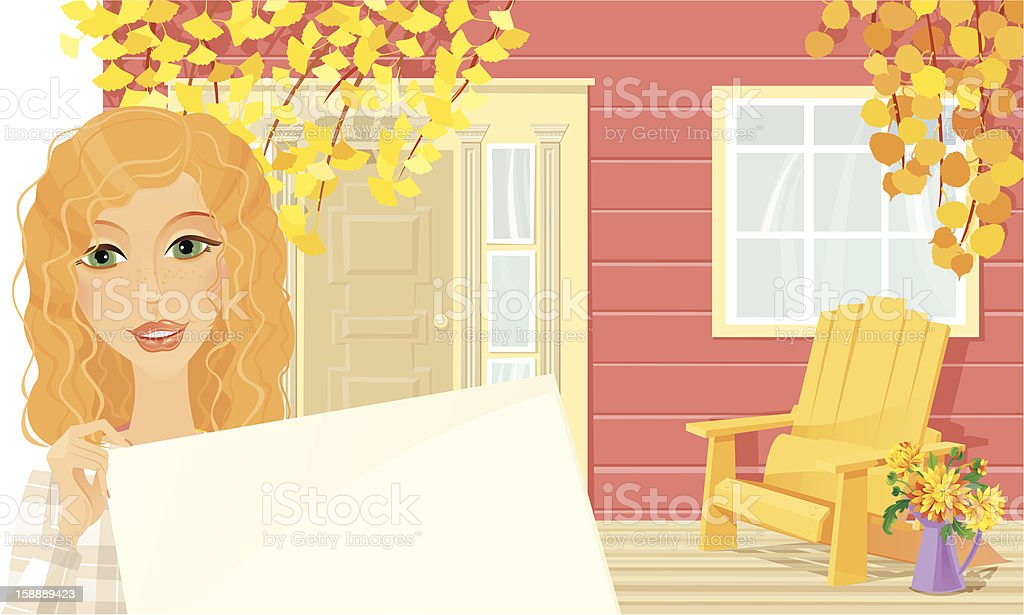 Welcome to our Autumn Cottage vector art illustration