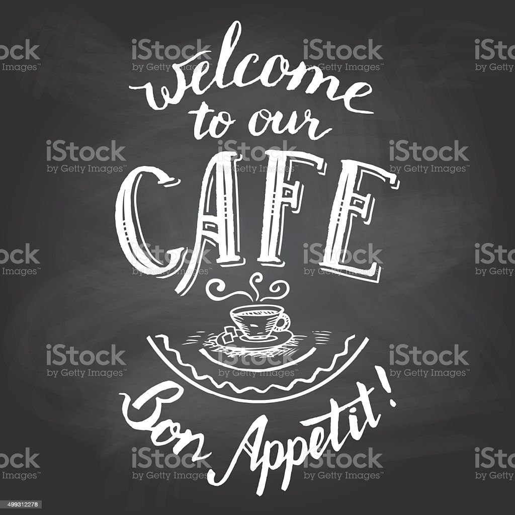 Welcome to our cafe chalkboard printable vector art illustration