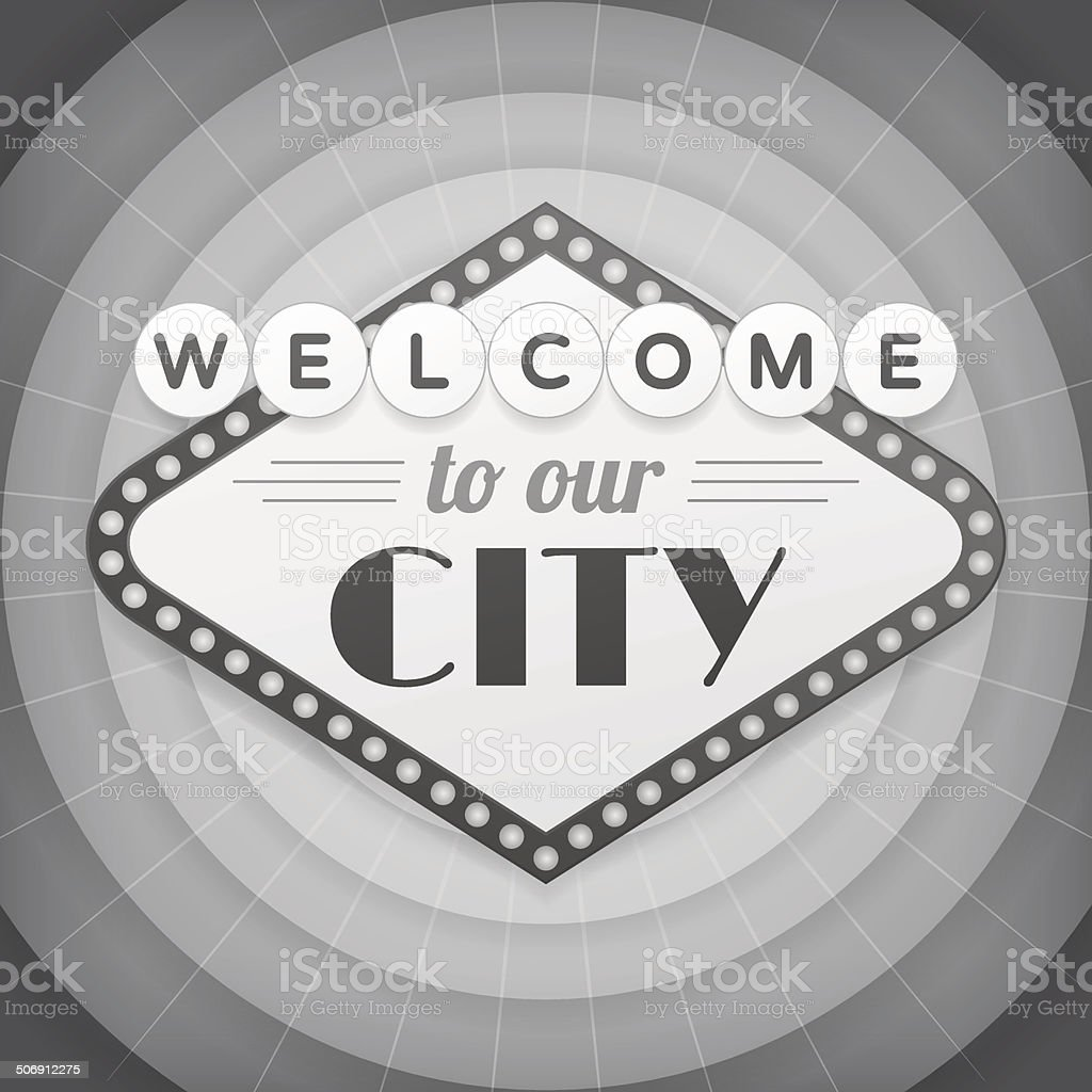 Welcome to our city vintage background poster vector art illustration