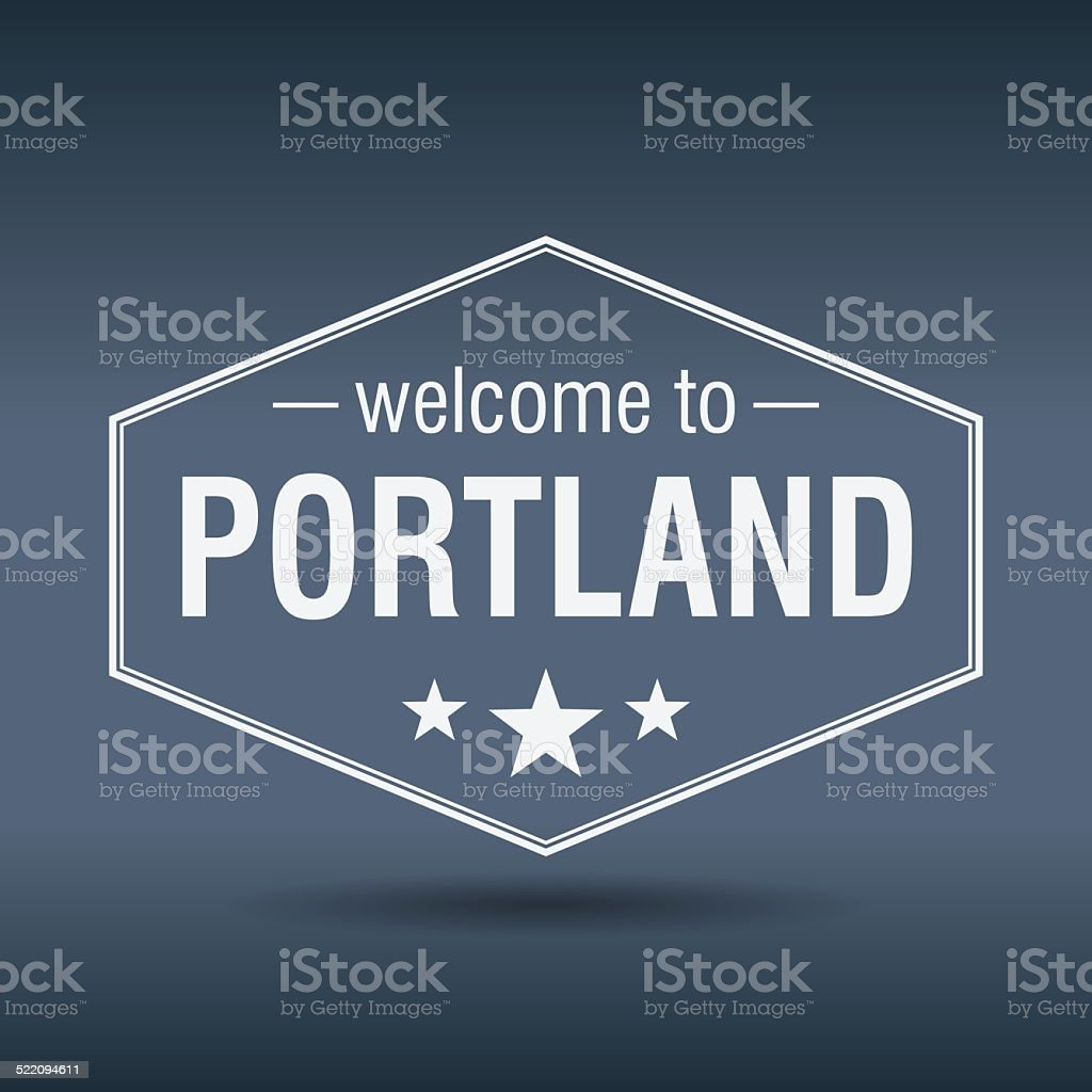 welcome to Portland hexagonal white vintage label vector art illustration