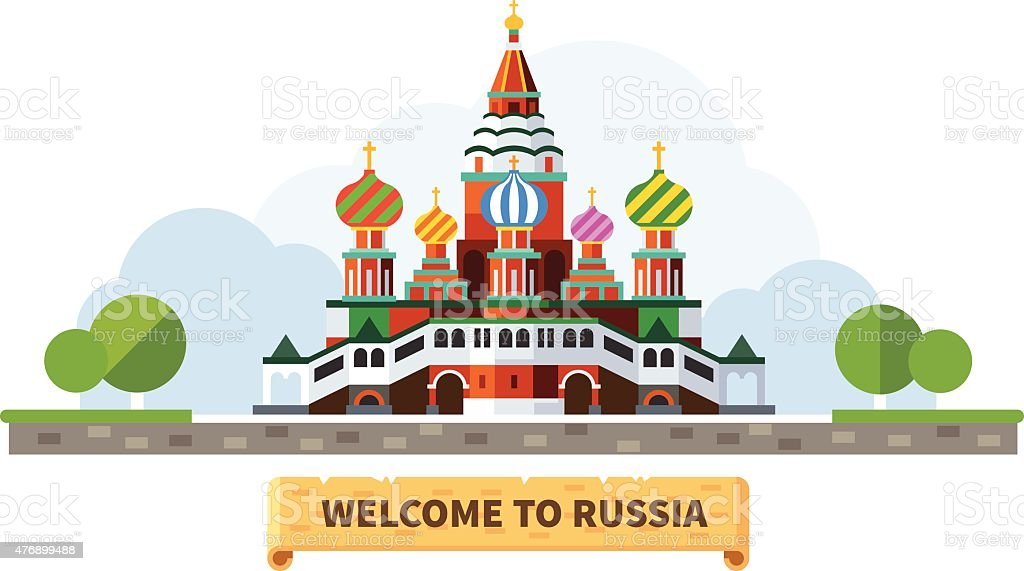 Welcome to Russia vector art illustration