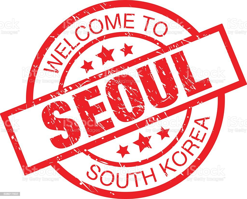 welcome to seoul - south korea label vector art illustration