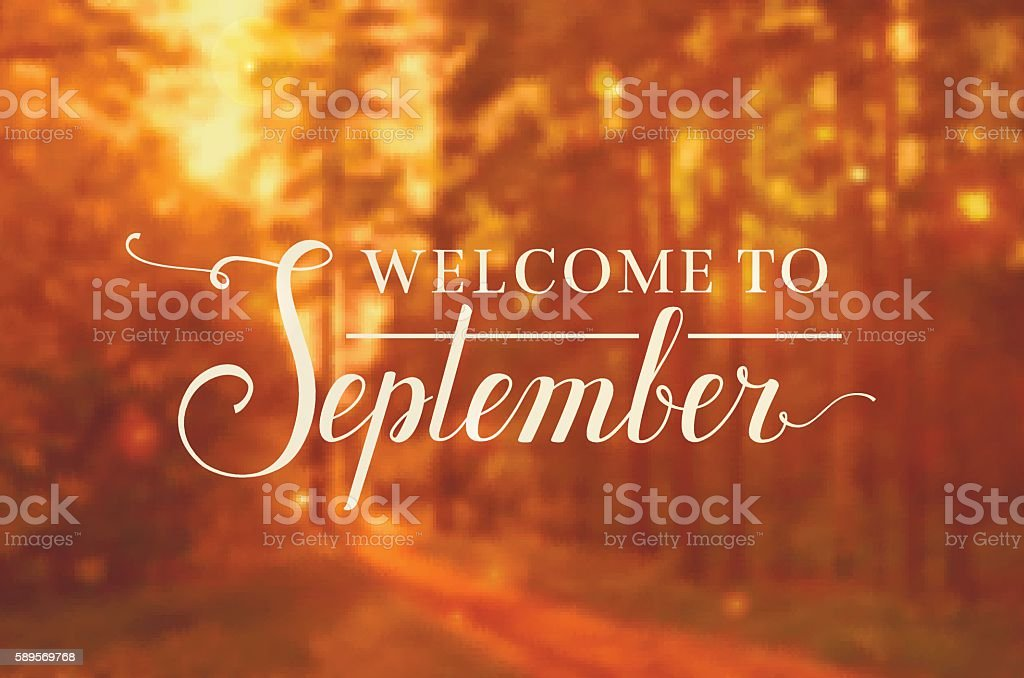 Welcome to September vector background. vector art illustration