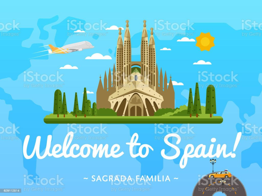 Welcome to Spain poster with famous attraction vector art illustration