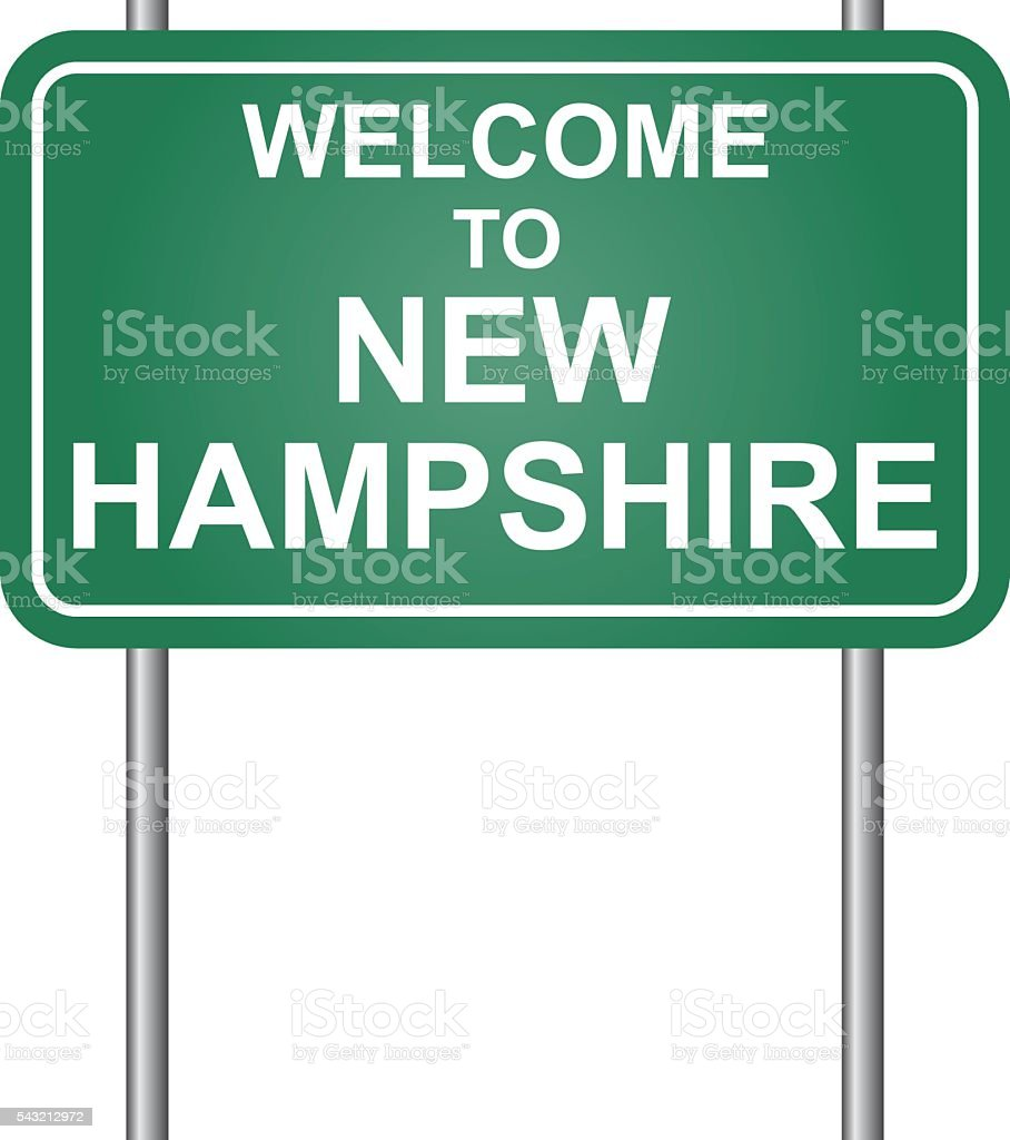Welcome to State of New Hampshire, green signal vector vector art illustration