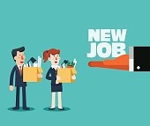 Welcome to the new job vector business concept