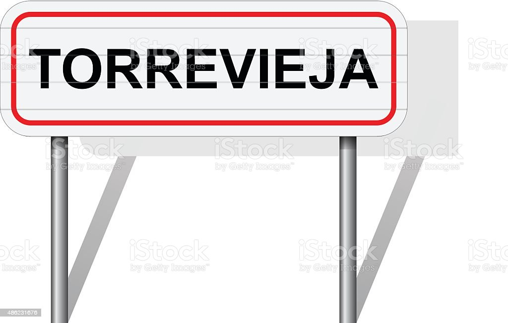 Welcome to Torrevieja Spain road sign vector vector art illustration