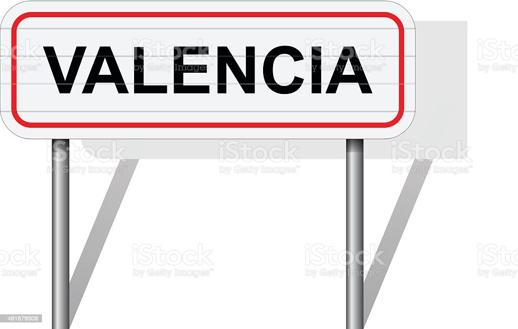 Welcome to Valencia Spain road sign vector vector art illustration