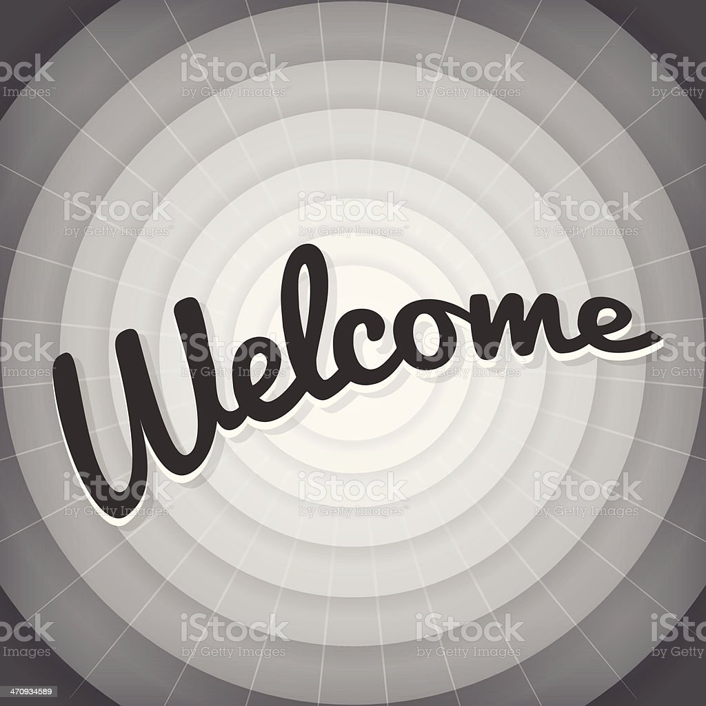 Welcome typography BW old movie screen royalty-free stock vector art