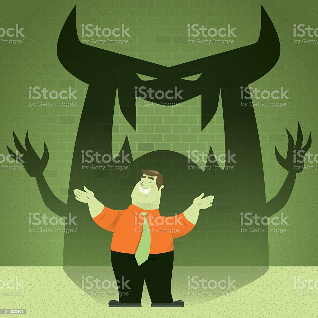 welcoming with devil vector art illustration
