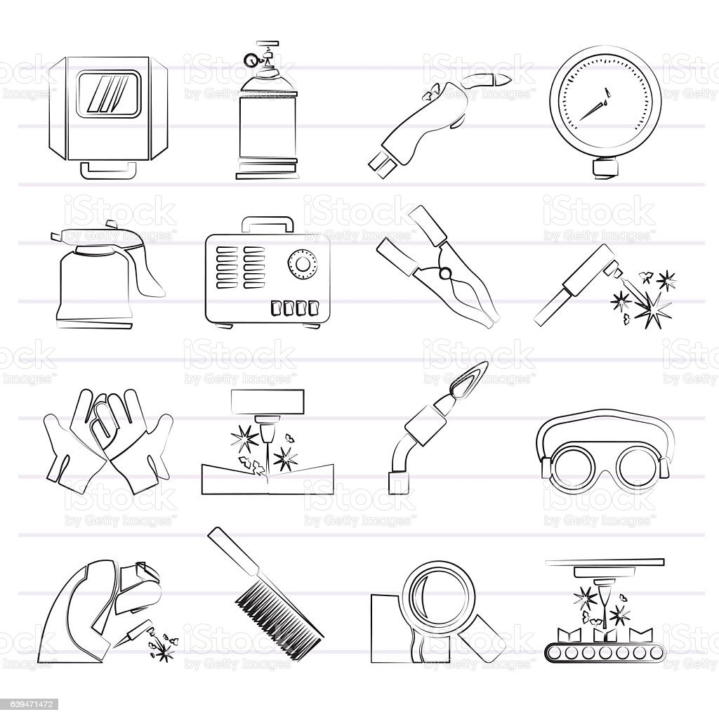 Welding and construction tools icons vector art illustration