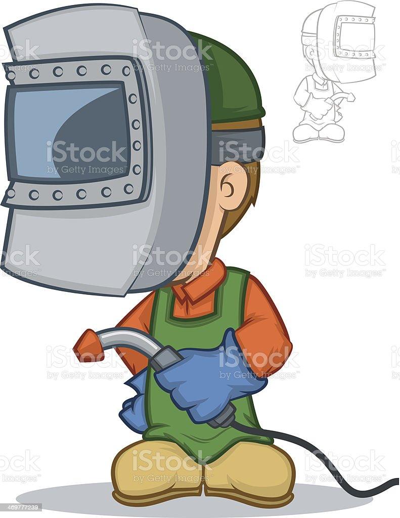 Bauarbeiter bei der arbeit comic  Schweißen Comic Vektor Illustration 469777239 | iStock