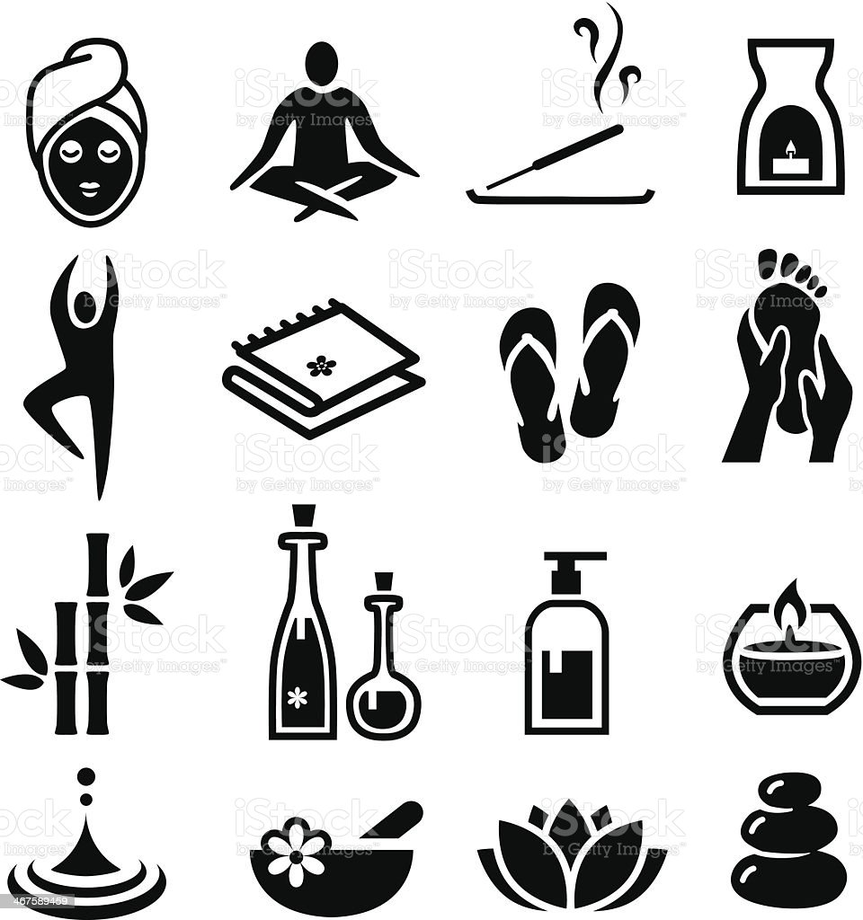 Wellness and Relax Icons vector art illustration