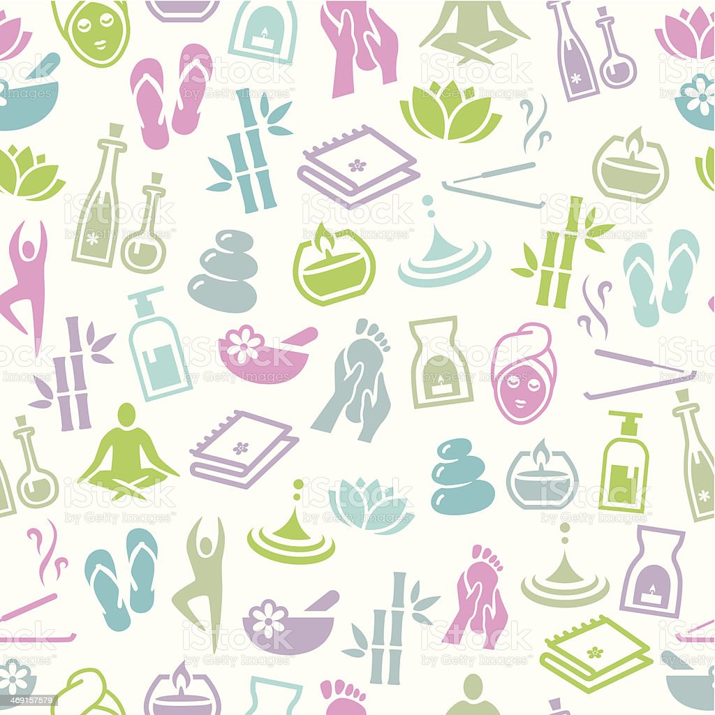 Wellness and Relaxation Seamless Pattern vector art illustration