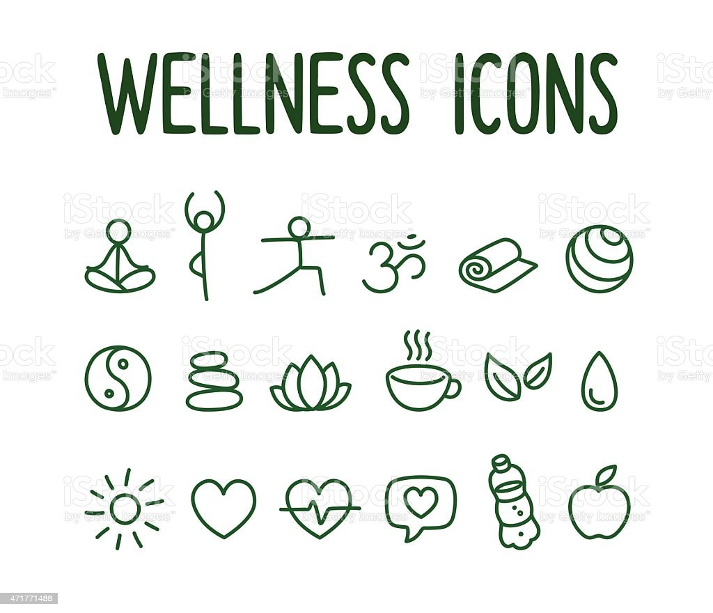 Wellness icons vector art illustration
