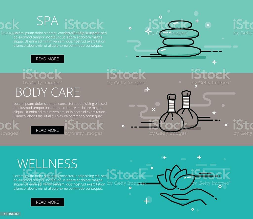 Wellness line vector web banners set vector art illustration
