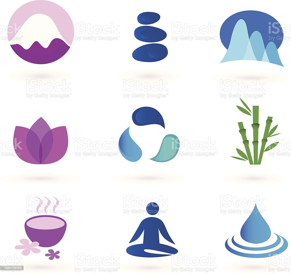 Wellness, relaxation and yoga icon set. Vector royalty-free stock vector art