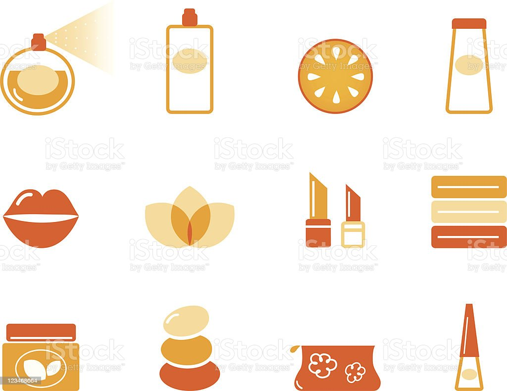 Wellness, spa and cosmetic icons set ( orange ) royalty-free stock vector art
