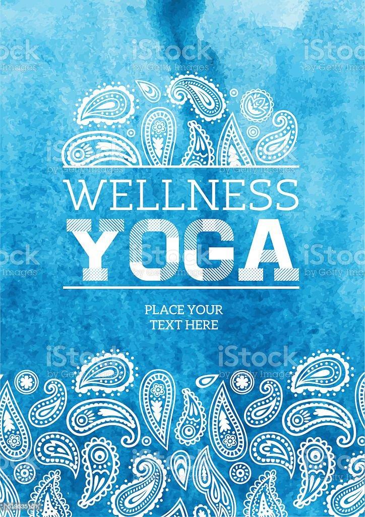 Wellness Yoga Watercolor Poster vector art illustration