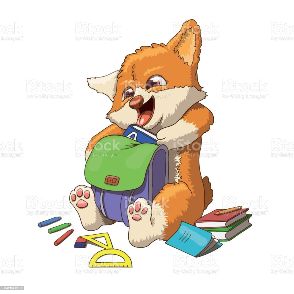 Welsh corgi dog puppy going to school vector art illustration