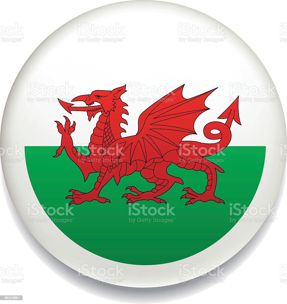 Welsh flag button vector art illustration