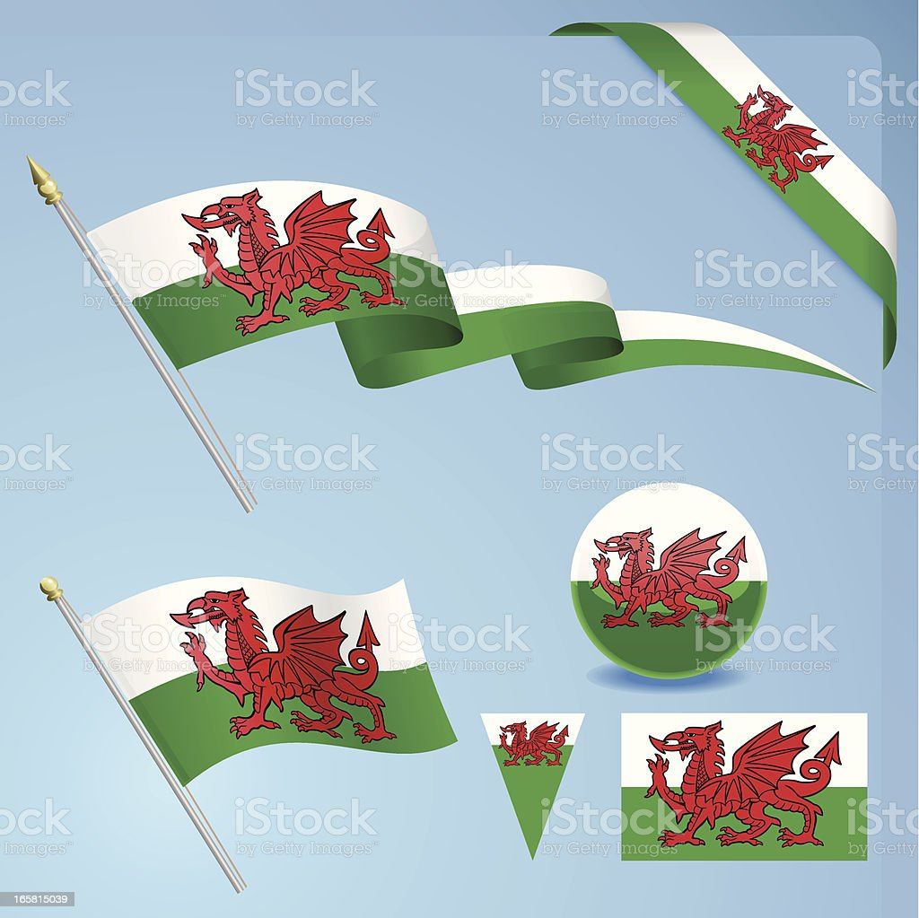 Welsh Flag vector art illustration