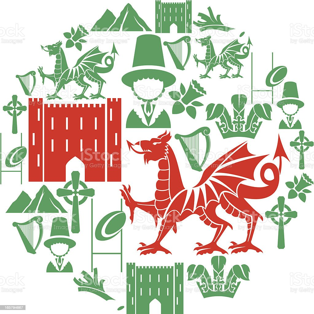 Welsh Icon Set vector art illustration