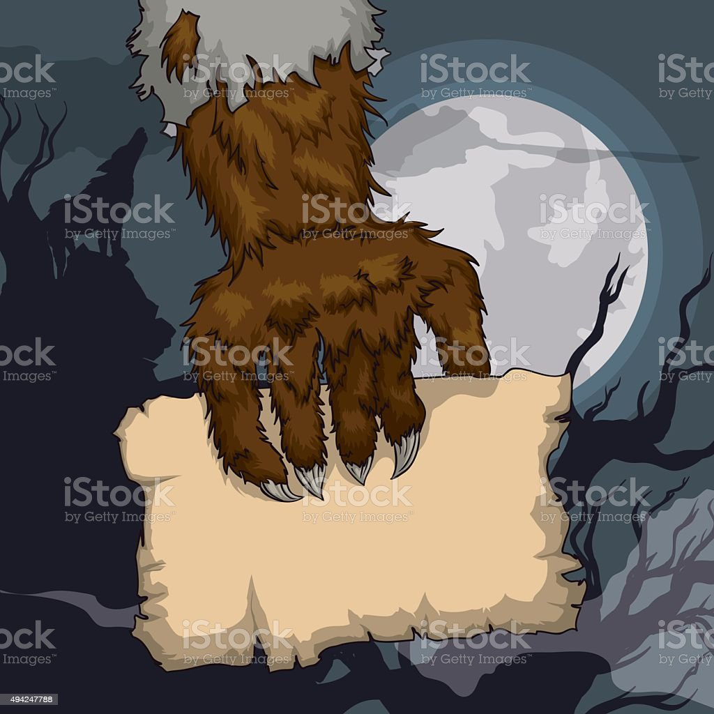Werewolf Holding a Old Paper in Full Moon Night. vector art illustration