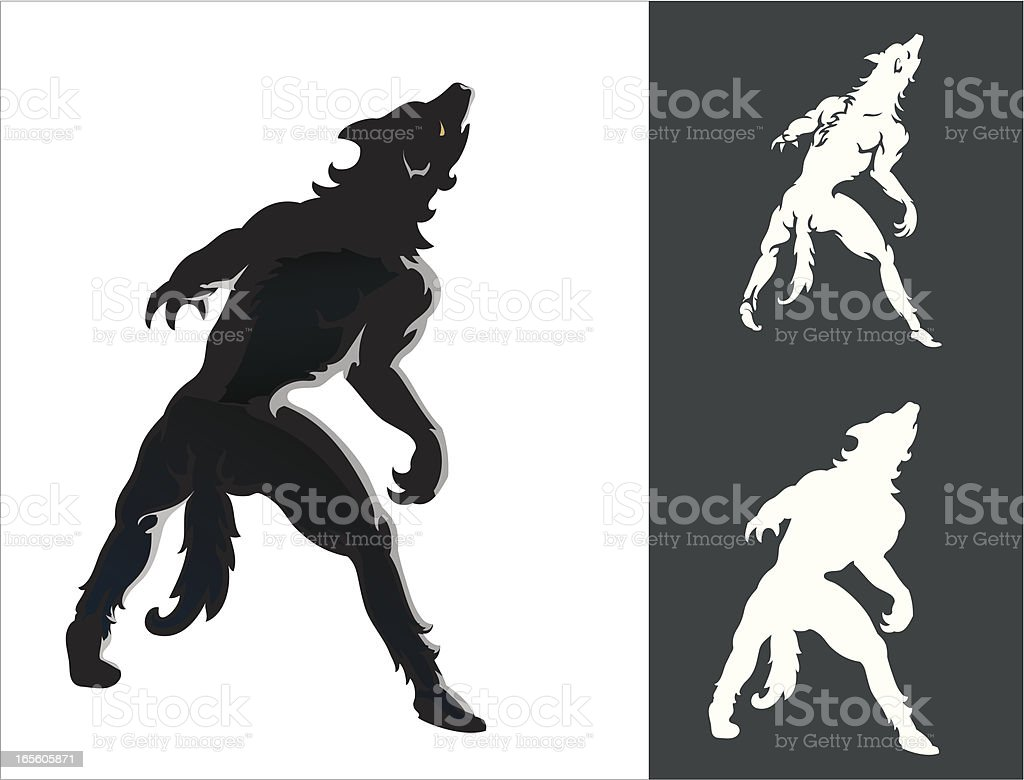 Werewolf Howl Silhouette Set royalty-free stock vector art