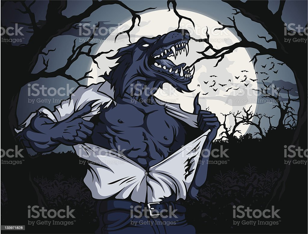 Werewolf Scene royalty-free stock vector art