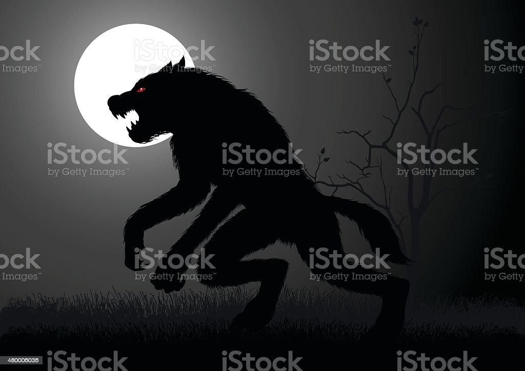 Werewolf vector art illustration